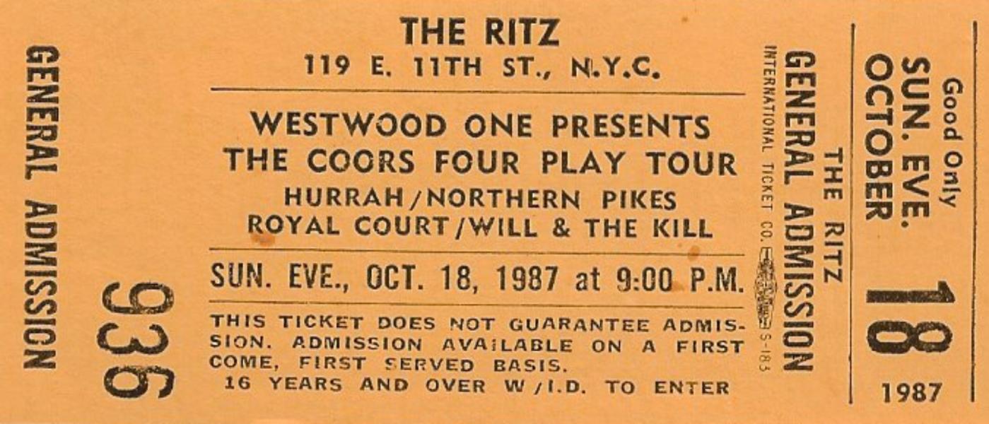 1987-10-18 The Ritz - New York NY